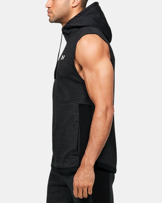 Men's UA Double Knit Sleeveless Hoodie, Black, pdpMainDesktop image number 3
