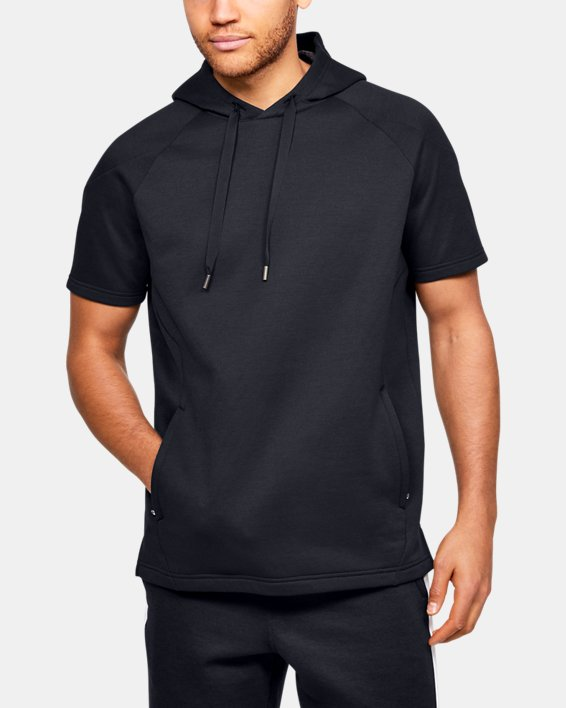 Men's UA RECOVER™ Fleece Short Sleeve Hoodie, Black, pdpMainDesktop image number 0