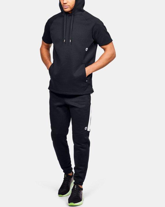 Men's UA RECOVER™ Fleece Short Sleeve Hoodie, Black, pdpMainDesktop image number 1
