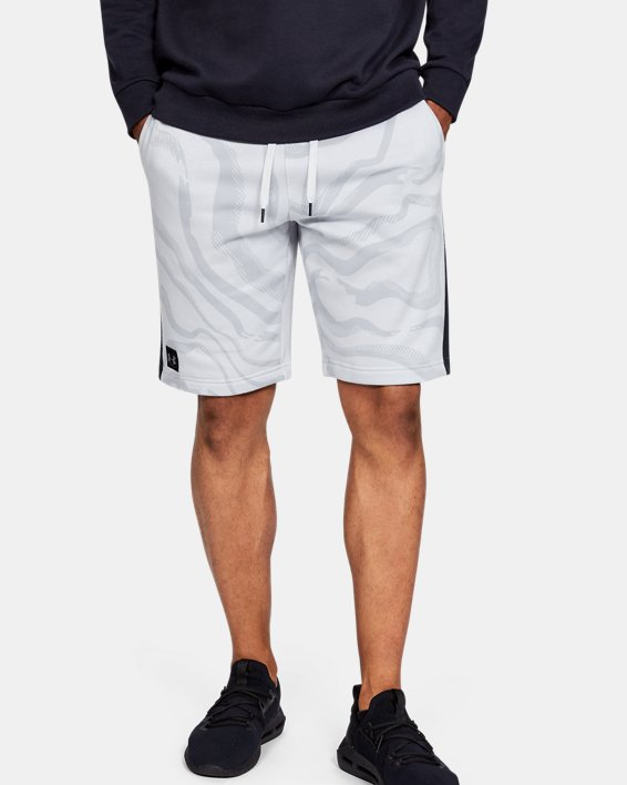 Short UA Speckled Fleece Printed pour homme, Gray, pdpMainDesktop image number 0