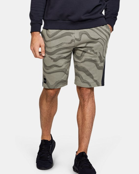 Men's UA Speckled Fleece Printed Shorts, Green, pdpMainDesktop image number 0