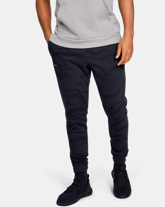 Men's UA Rival Fleece Printed Pants, Black, pdpMainDesktop image number 0