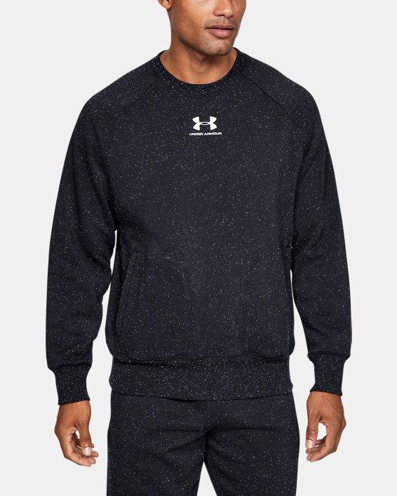 Men's UA Speckled Fleece Crew, Black, pdpMainDesktop image number 0