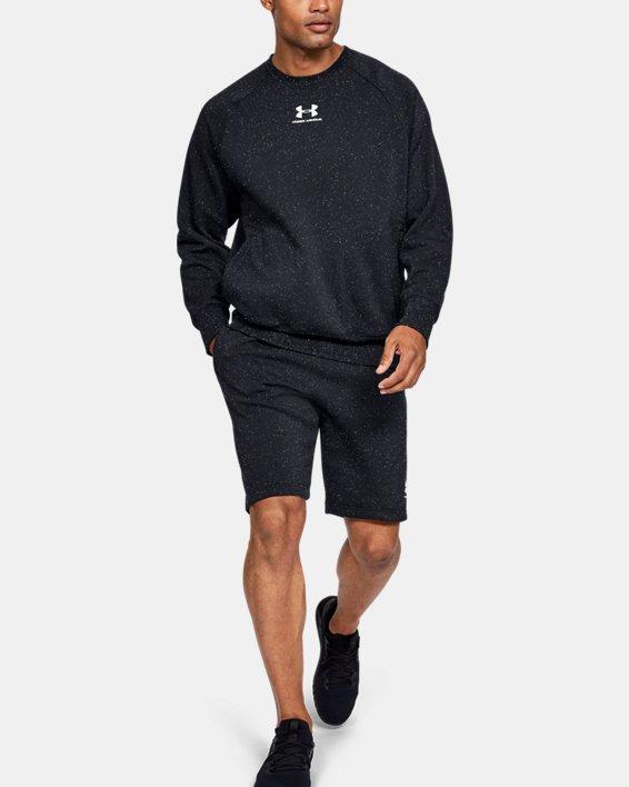 Men's UA Speckled Fleece Crew, Black, pdpMainDesktop image number 1