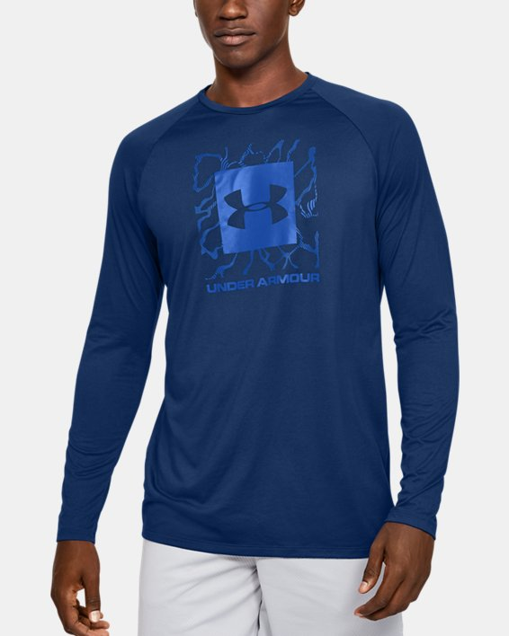 Men's UA Tech™ 2.0 Graphic Long Sleeve, Blue, pdpMainDesktop image number 0