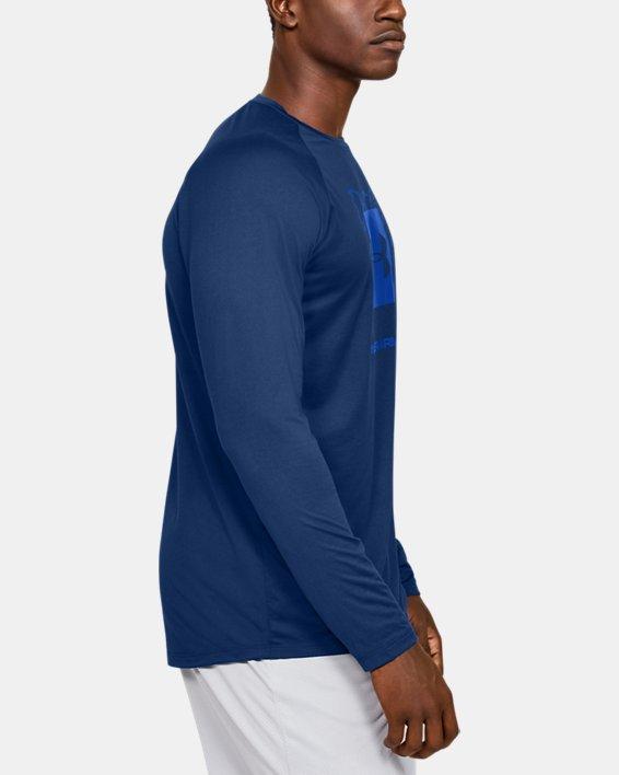 Men's UA Tech™ 2.0 Graphic Long Sleeve, Blue, pdpMainDesktop image number 3