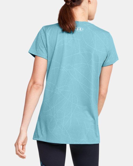 Women's UA Tech™ Defense Jacquard Short Sleeve, Blue, pdpMainDesktop image number 2
