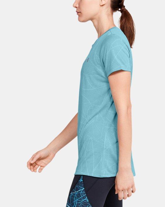 Women's UA Tech™ Defense Jacquard Short Sleeve, Blue, pdpMainDesktop image number 3