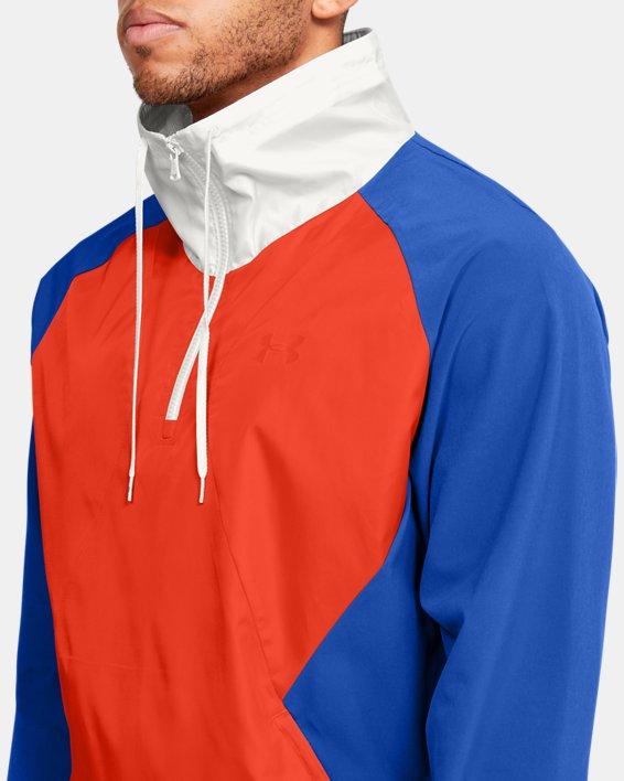 Men's UA Stretch Woven ½ Zip Jacket, Blue, pdpMainDesktop image number 5