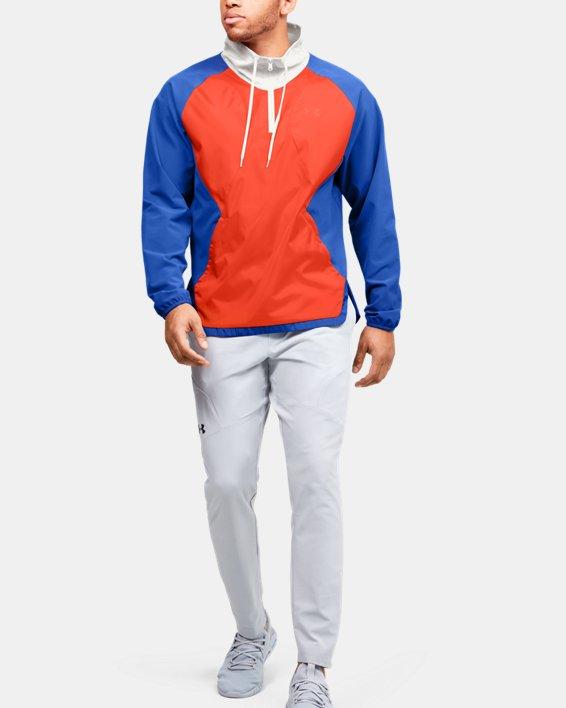 Men's UA Stretch Woven ½ Zip Jacket, Blue, pdpMainDesktop image number 1
