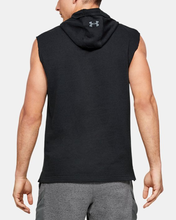 Men's Project Rock Terry Sleeveless Hoodie, Black, pdpMainDesktop image number 2
