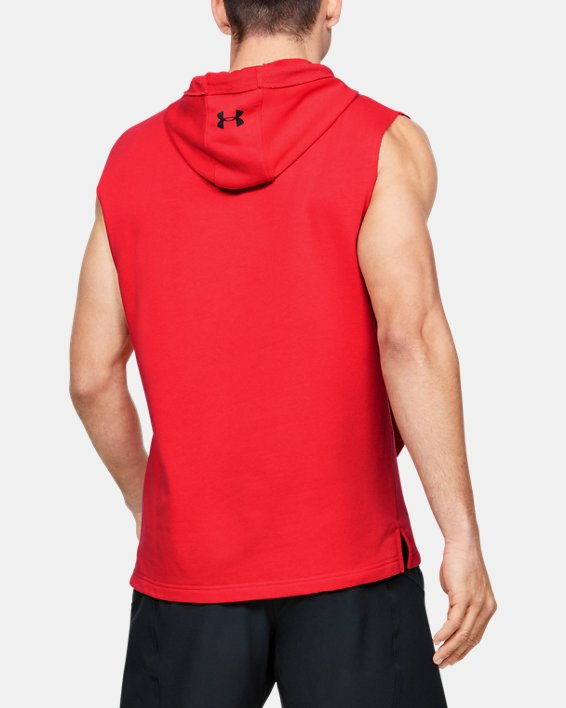 Men's Project Rock Terry Sleeveless Hoodie, Red, pdpMainDesktop image number 2