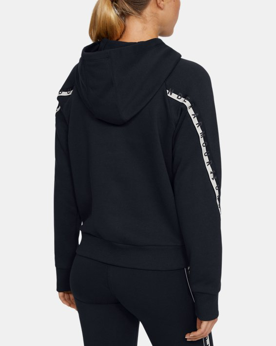 Women's UA Taped Fleece Full Zip, Black, pdpMainDesktop image number 2