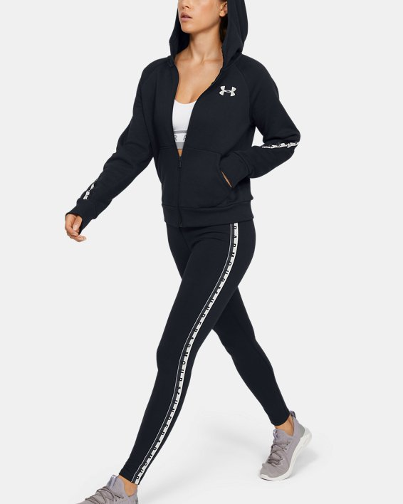 Women's UA Taped Fleece Full Zip, Black, pdpMainDesktop image number 1
