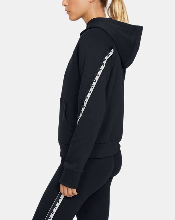 Women's UA Taped Fleece Full Zip, Black, pdpMainDesktop image number 3