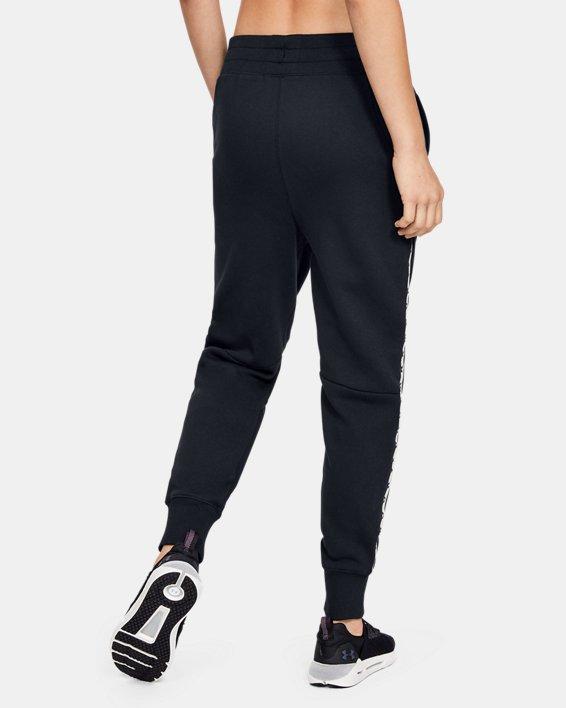 Women's UA Fleece Taped Wordmark Pants, Black, pdpMainDesktop image number 3