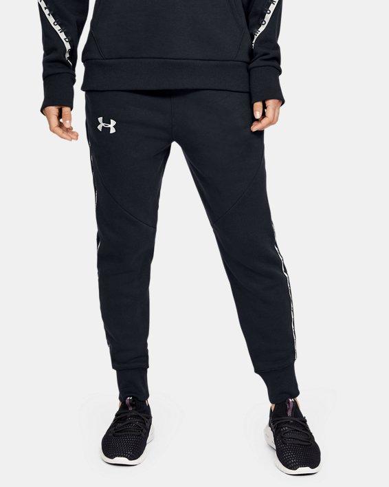 Women's UA Fleece Taped Wordmark Pants, Black, pdpMainDesktop image number 2