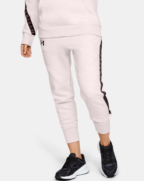 Women's UA Fleece Taped Wordmark Pants, Pink, pdpMainDesktop image number 2