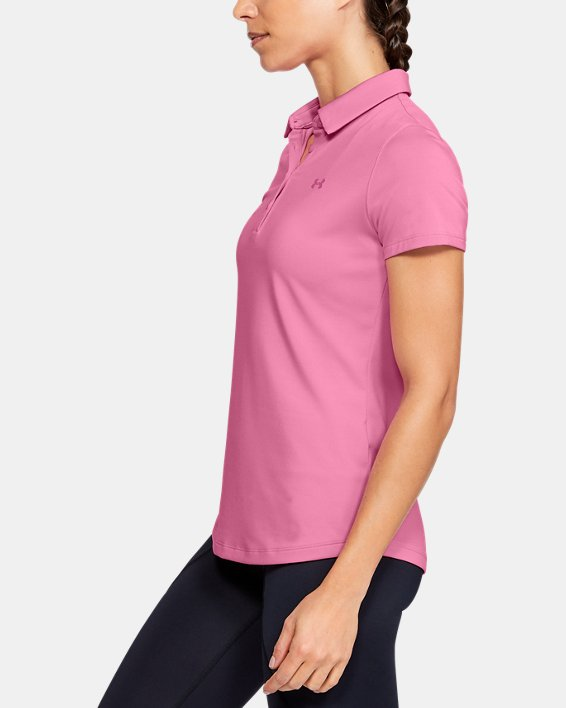 Women's UA Zinger Short Sleeve Polo, Pink, pdpMainDesktop image number 3