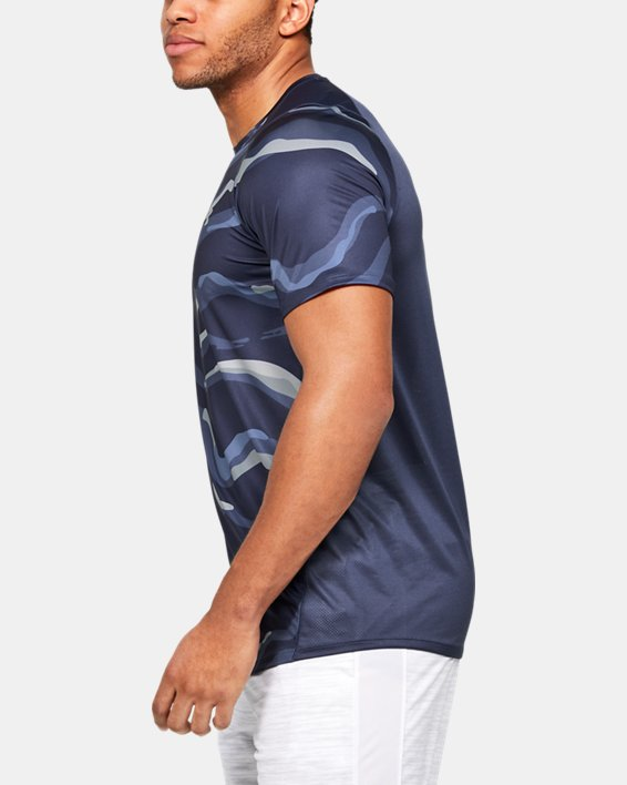Men's UA MK-1 Printed Short Sleeve, Blue, pdpMainDesktop image number 3