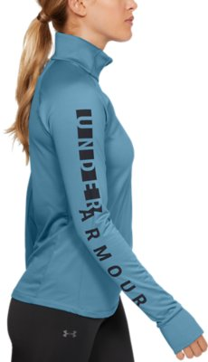 Under Armour UA HeatGear Tech Femmes Gris 1//2 Zip Sports réchauffer Running Top