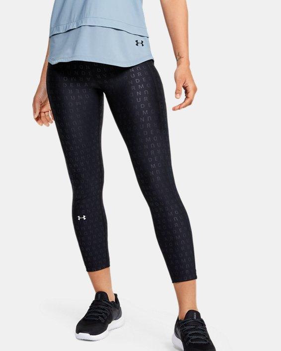 Women's HeatGear® Armour Printed Ankle Crop, Black, pdpMainDesktop image number 0