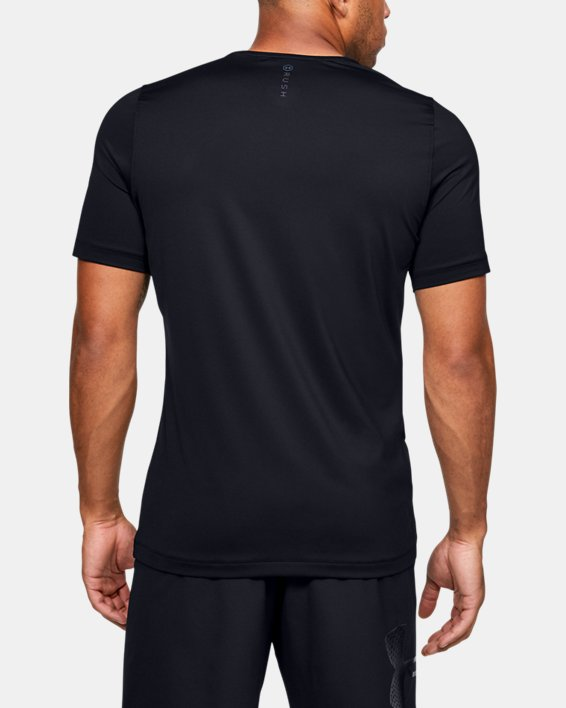 Men's UA RUSH™ HeatGear® Fitted Short Sleeve, Black, pdpMainDesktop image number 2