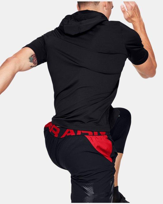 Men's UA RUSH™ HeatGear® Short Sleeve Hoodie, Black, pdpMainDesktop image number 2