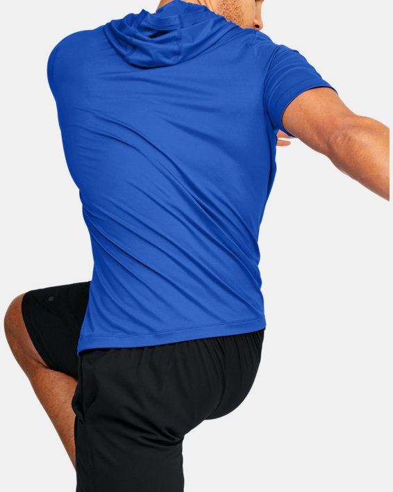 Men's UA RUSH™ HeatGear® Short Sleeve Hoodie, Blue, pdpMainDesktop image number 2