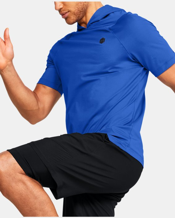 Men's UA RUSH™ HeatGear® Short Sleeve Hoodie, Blue, pdpMainDesktop image number 0