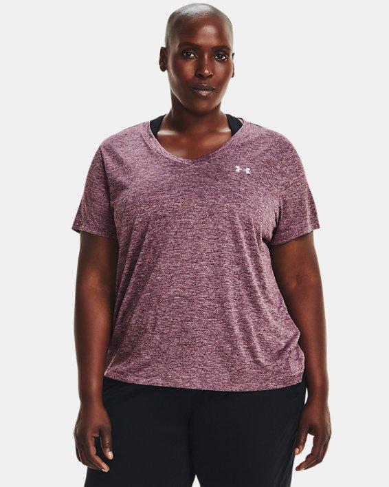 Women's UA Tech™ Twist V-Neck Short Sleeve, Purple, pdpMainDesktop image number 0