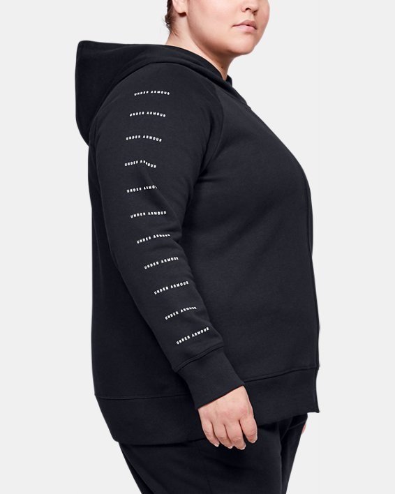 Women's UA Rival Fleece Sportstyle LC Sleeve Graphic Full Zip, Black, pdpMainDesktop image number 3
