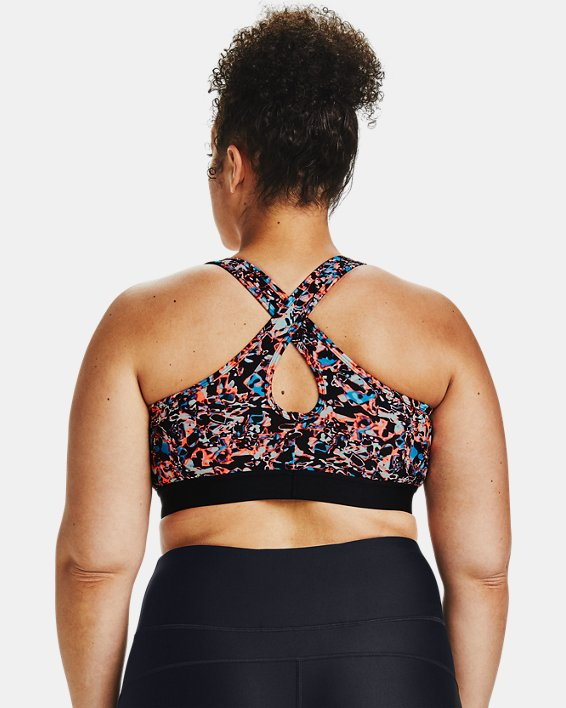 Women's Armour® Mid Crossback Printed Sports Bra, Black, pdpMainDesktop image number 1