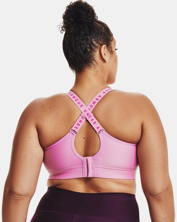 Women's UA Infinity Mid Sports Bra, Pink, pdpMainDesktop image number 1