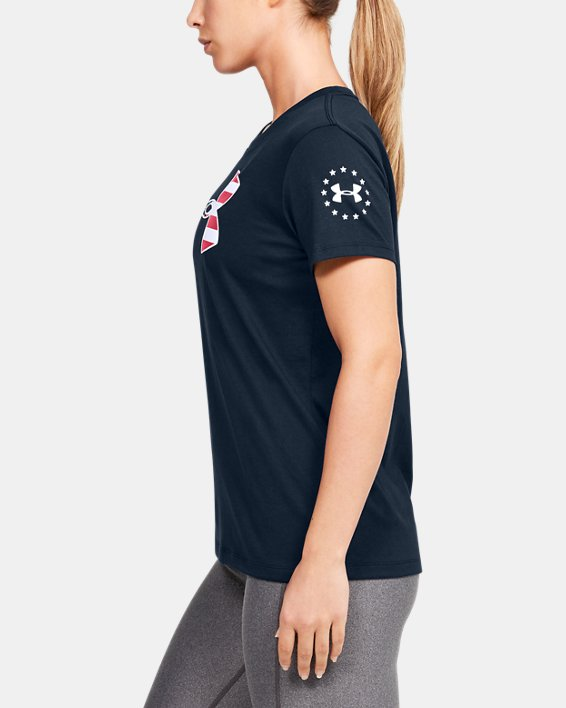 Women's UA Freedom Stars & Stripes T-Shirt, Navy, pdpMainDesktop image number 3
