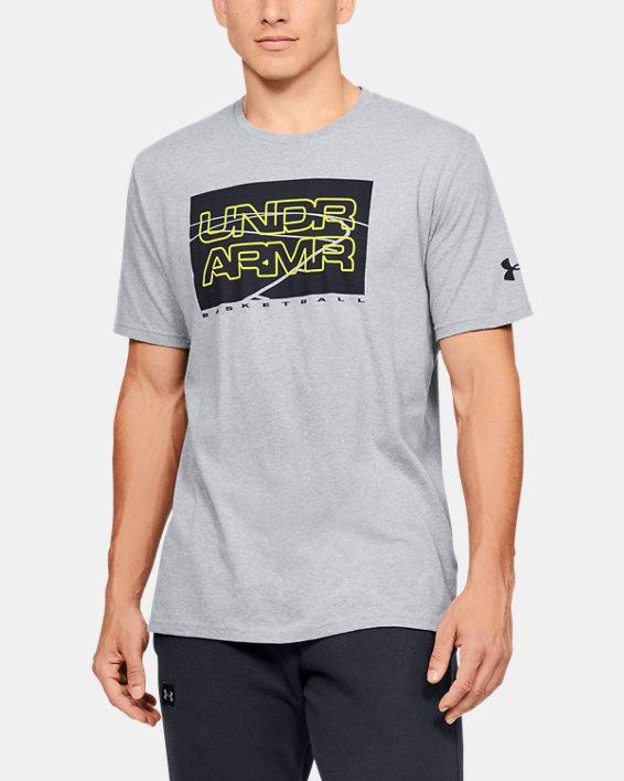 Men's UA UNDR ARMR Court Graphic T-Shirt, Gray, pdpMainDesktop image number 0