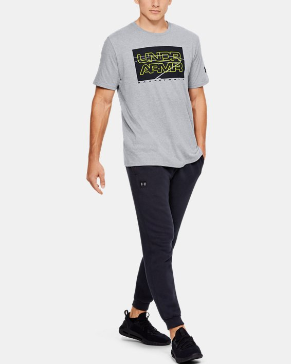 Men's UA UNDR ARMR Court Graphic T-Shirt, Gray, pdpMainDesktop image number 1