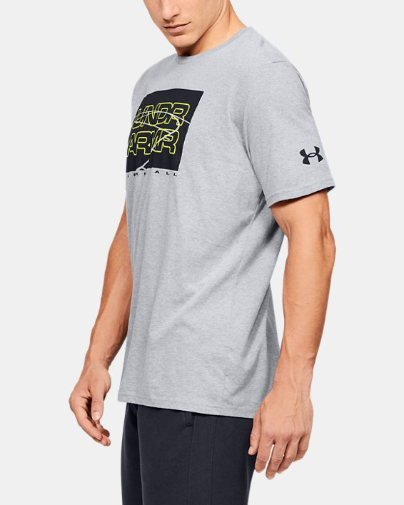 Men's UA UNDR ARMR Court Graphic T-Shirt, Gray, pdpMainDesktop image number 3