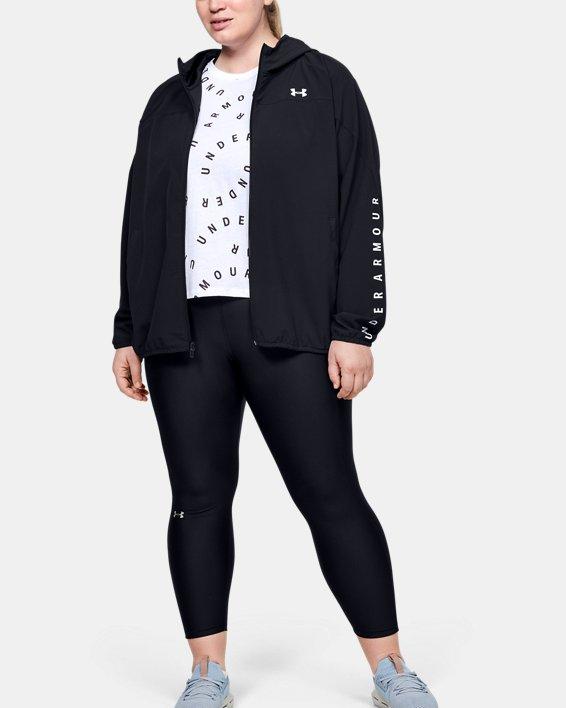 Women's UA Woven Branded Full Zip Hoodie, Black, pdpMainDesktop image number 0