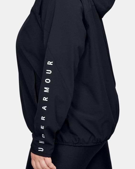 Women's UA Woven Branded Full Zip Hoodie, Black, pdpMainDesktop image number 3