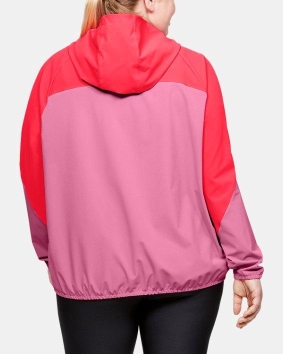 Women's UA Woven Branded Full Zip Hoodie, Pink, pdpMainDesktop image number 2