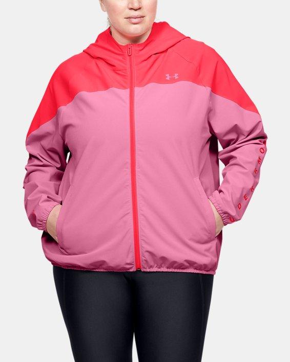 Women's UA Woven Branded Full Zip Hoodie, Pink, pdpMainDesktop image number 1