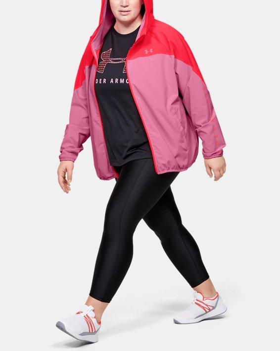 Women's UA Woven Branded Full Zip Hoodie, Pink, pdpMainDesktop image number 0