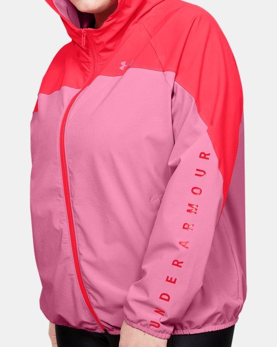 Women's UA Woven Branded Full Zip Hoodie, Pink, pdpMainDesktop image number 3