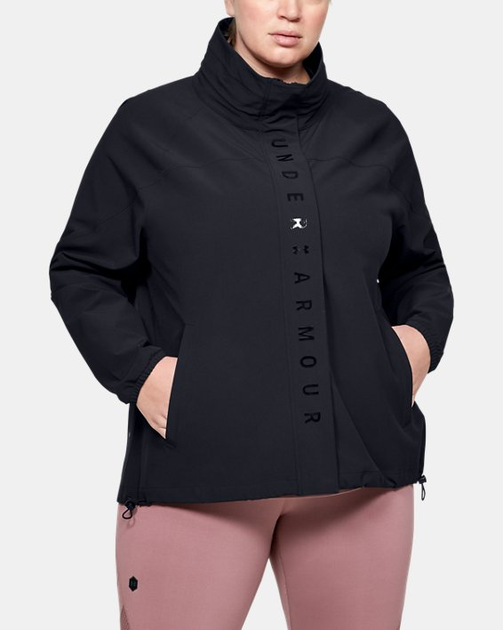 Women's UA RECOVER™ Woven Full Zip, Black, pdpMainDesktop image number 1