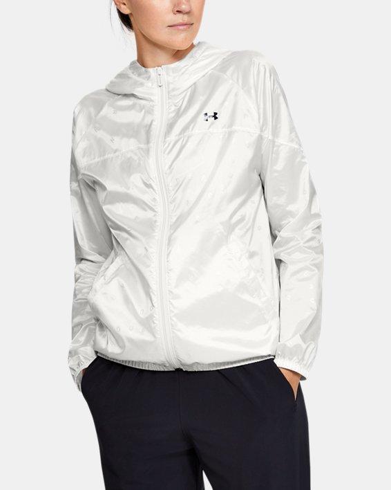 Women's UA Woven Translucent Full Zip, White, pdpMainDesktop image number 0