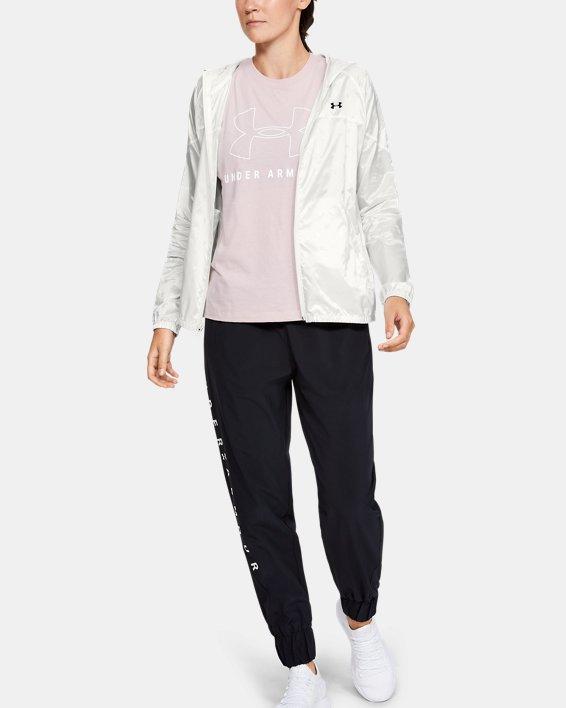 Women's UA Woven Translucent Full Zip, White, pdpMainDesktop image number 1