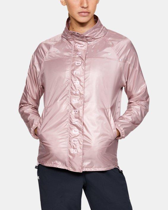 Women's UA RECOVER™ Woven Iridescent Full Zip, Pink, pdpMainDesktop image number 1