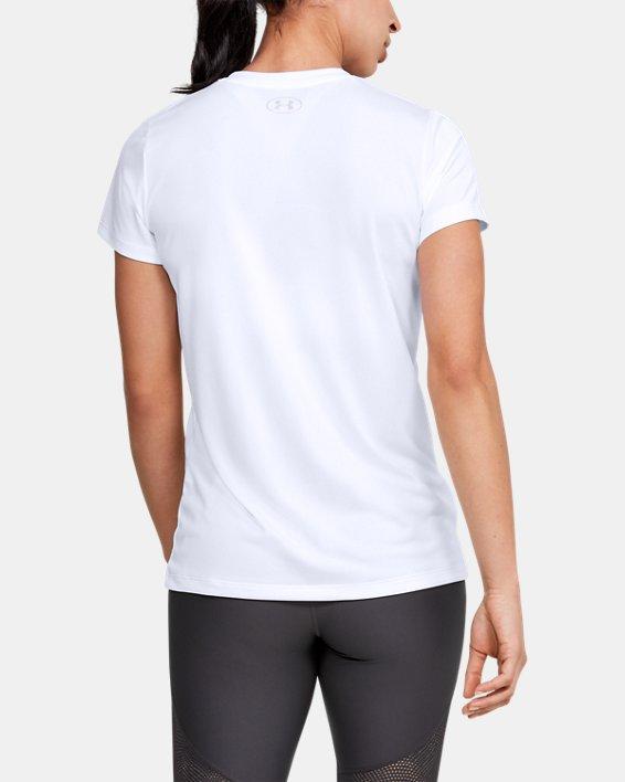 Women's UA Velocity Graphic V-Neck Short Sleeve, White, pdpMainDesktop image number 2