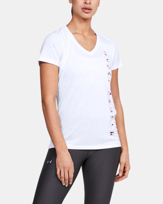 Women's UA Velocity Graphic V-Neck Short Sleeve, White, pdpMainDesktop image number 1